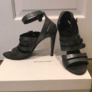 Balenciaga pewter heel cage sandal